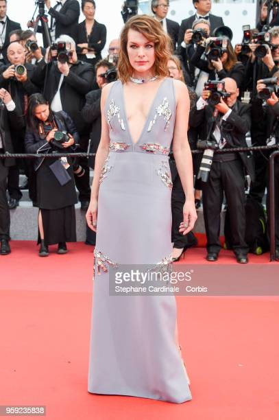Milla Jovovich attends the screening of 'Burning' during the 71st annual Cannes Film Festival at Palais des Festivals on May 16 2018 in Cannes France