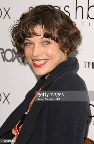 Milla Jovovich during Hedwig and The Angry Inch at The Roxy Theatre Arrivals and Show at The Roxy Theatre in Hollywood California United States