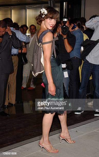 Milla Jovovich during Prada Opens Beverly Hills Epicenter Arrivals at Rodeo Drive in Beverly Hills California United States