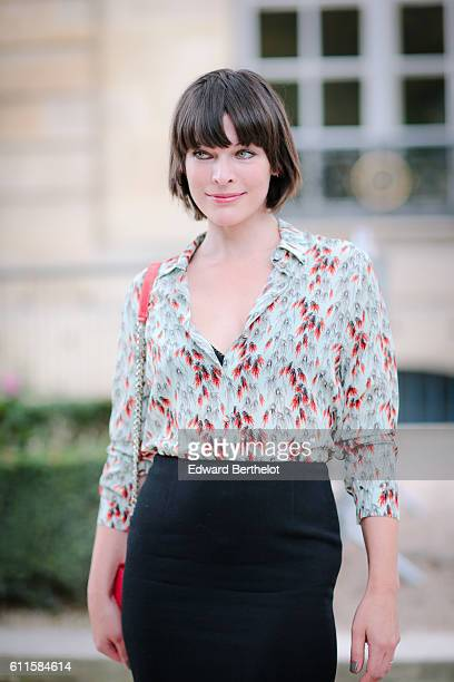 Milla Jovovich is attending the Dior show during Paris Fashion Week Spring Summer 2017 at the Rodin museum on September 30 2016 in Paris France