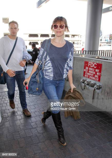 Milla Jovovich is seen at LAX on September 18 2017 in Los Angeles California