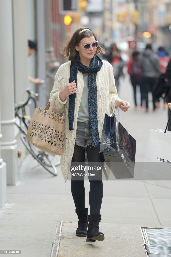 Milla Jovovich is seen on April 1, 2014 in New York City.