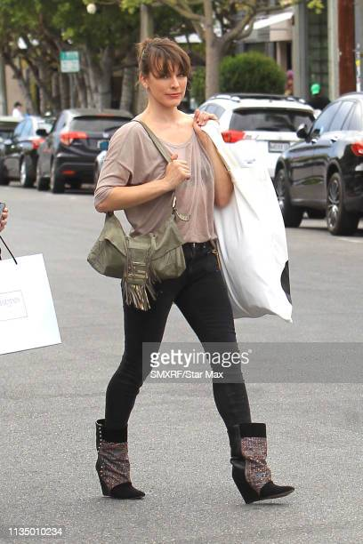 Milla Jovovich is seen on April 4, 2019 in Los Angeles, California.