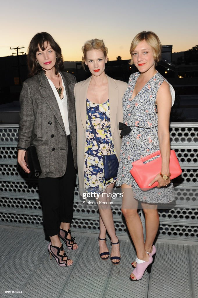 Milla Jovovich, January Jones and Chloe Sevigny, carrying Coach, attend Coach's 3rd Annual Evening of Cocktails and Shopping to Benefit the Children's Defense Fund hosted by Katie McGrath, J.J. Abrams and Bryan Burk at Bad Robot on April 10, 2013 in Santa Monica, California.