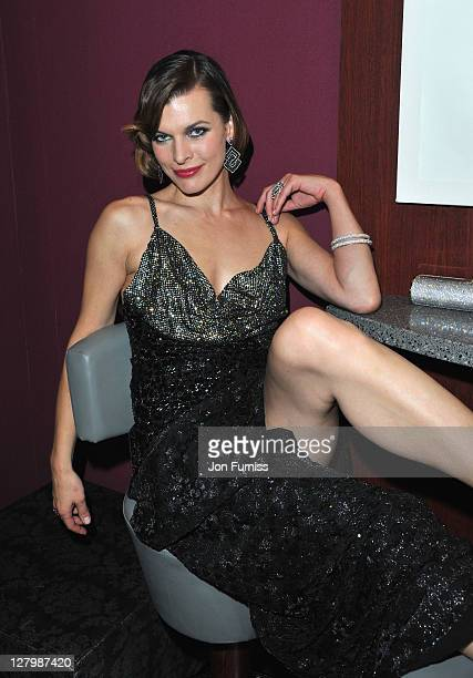 Milla Jovovich posing at the Three Musketeers in 3D World Premiere at Vue Westfield on October 4 2011 in London England