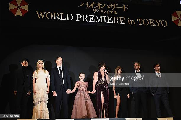 Milla Jovovich speaks on stage with cast at the world premiere of 'Resident Evil The Final Chapter' at the Roppongi Hills on December 13 2016 in...