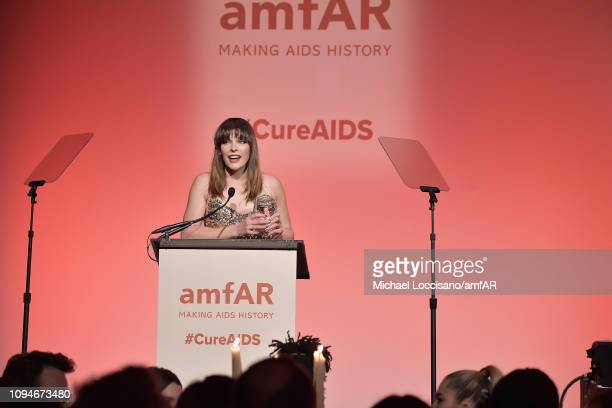 Milla Jovovich speaks onstage during the amfAR New York Gala 2019 at Cipriani Wall Street on February 6 2019 in New York City