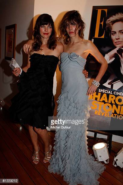 Milla Jovovitch and Lou Doillon attends the Dior Party at Eden Roc Hotel during the 61st International Cannes Film Festival on May 23, 2008 in...