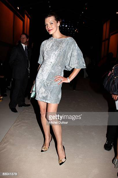 Milla Jovovitch arrives at the Nina Ricci PFW Spring/Summer 2008 show on September 28 2008 in Paris France