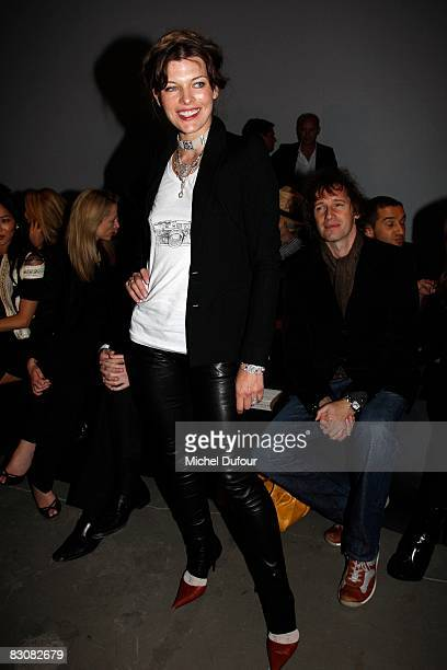 Milla Jovovitch attends the Givenchy fashion show during Paris Fashion Week at Carreau du Temple Turenne on October 1 2008 in Paris France