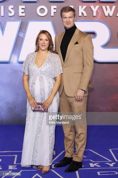 Milla Pohjasvaara and Joonas Suotamo attends Star Wars The Rise of Skywalker European Premiere at Cineworld Leicester Square on December 18 2019 in...