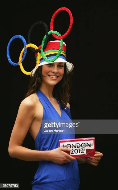 Milla Stanovic wears a hat with the Olympic rings to promote the London 2012 Olympic bid on Ladies Day at York Racecourse on June 16 2005 at York...