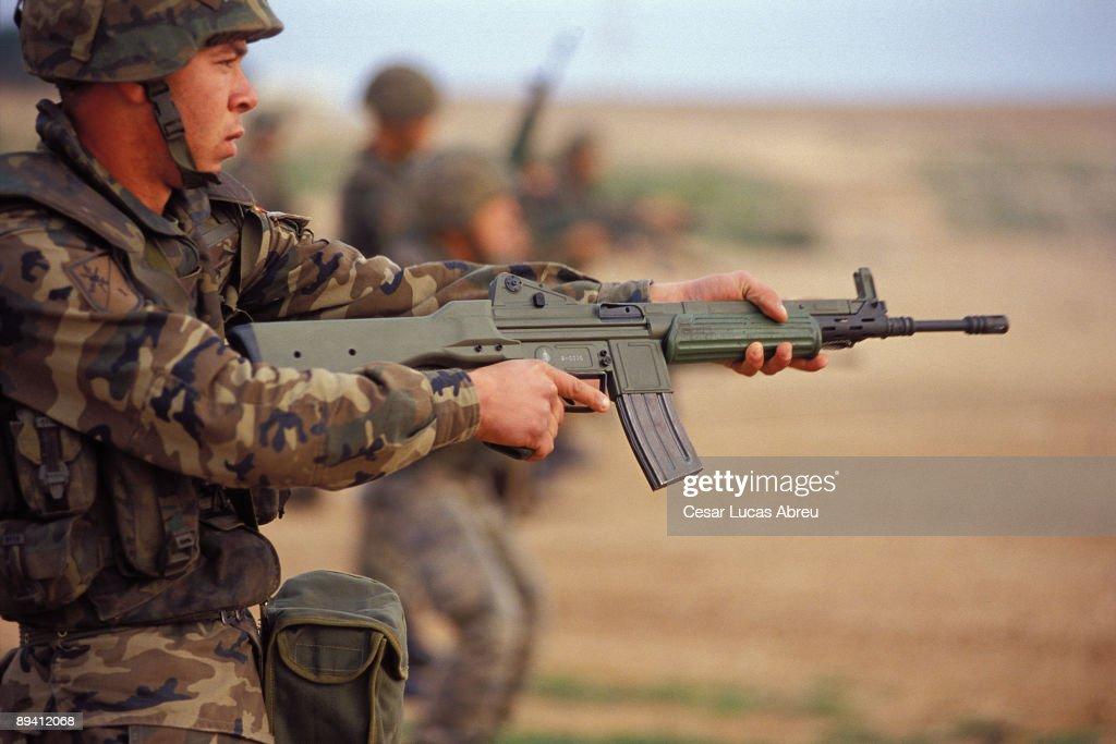 Millan Astray Barrack, Melilla (Spain) The Spanish Legion. Practices of shot with a CETME. The Legion. Quartering Millan Astray, Melilla. : News Photo
