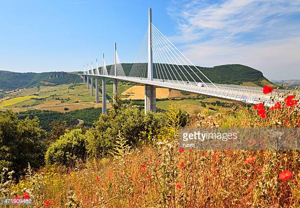 millau bridge, southern france - aveyron stock pictures, royalty-free photos & images