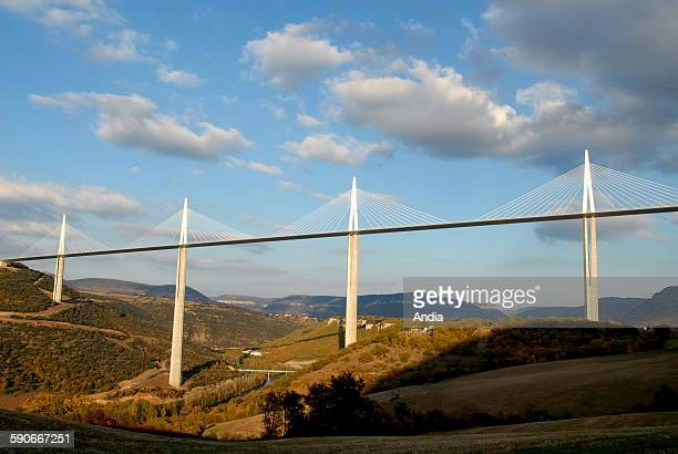 Millau Landscape countryside in the area of the Aveyron department with a general view of the viaduct