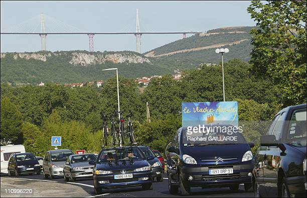 """Millau sees last summer traffic jams before opening of world's highest bridge that will allow to get rid of the infamous """"Millau bottleneck"""" In..."""