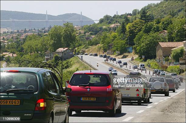 Millau Sees Last Summer Traffic Jams Before Opening Of World's Highest Bridge In Millau, France On July 03, 2004 - The opening of the bridge will...