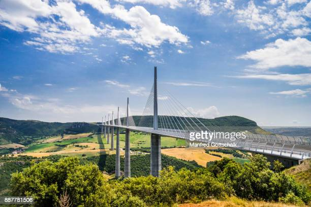 Millau Viaduct spans the River Tarn valley