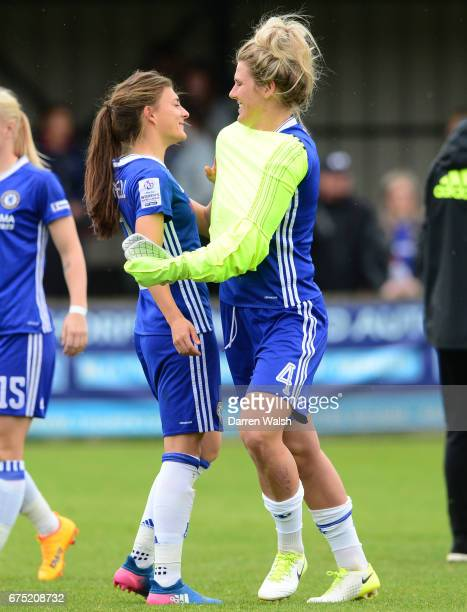 Mille Bright and Hannah Blundell of Chelsea after the FA WSL 1 match between Chelsea Ladies and Yeovil Town Ladies at Wheatsheaf Park on April 30...