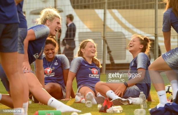 Mille Bright Jessica Carter Erin Cuthbert and Ali Riley of Chelsea during their training session on August 01 2018 in Montpellier France