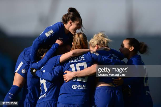 Mille Bright of Chelsea celebrates with her team mates after she scores to make it 10 during a WSL match between Chelsea Ladies and Manchester City...
