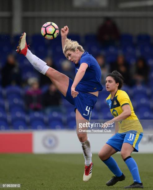 Mille Bright of Chelsea controls the ball in the air during a FA Women's Cup 5th Round match between Chelsea and Doncaster Rovers Belles at The...