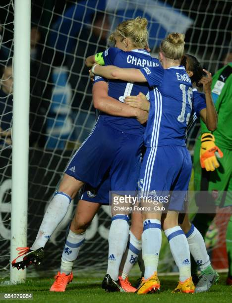 Mille Bright of Chelsea scores to make it 11 during a WSL 1 match between Chelsea Ladies FC and Arsenal Ladies FC on May 17 2017 in Staines England