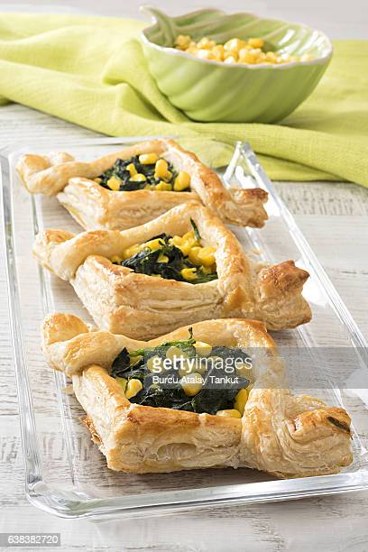 mille feuille filled with spinach and corn