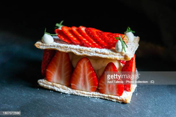 mille feuille with strawberries on a slate - catalonia stock pictures, royalty-free photos & images