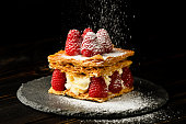 Millefeuille dessert with raspberry