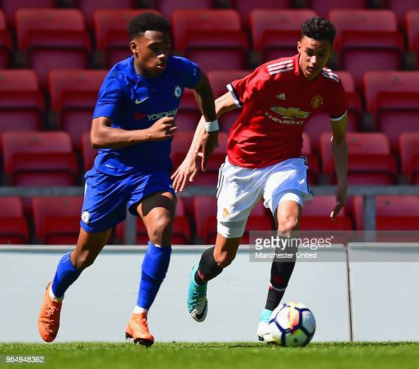 Millen Baars in action during the U18 Premier League National Final match between Manchester United U18s and Chelsea U18s at Leigh Sports Village on...