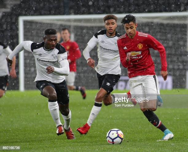 Millen Baars of Manchester United U18s in action during the FA Youth Cup third round match between Derby County U18s and Manchester United U18s at...