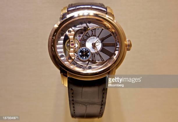 A Millenary 4101 selfwinding wristwatch by Audemars Piguet sits on display at the Salon International de la Haute Horlogerie watch fair in Geneva...