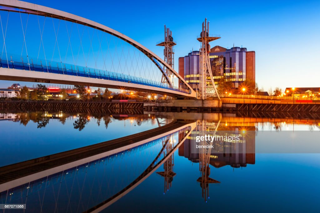 Millenium Bridge in Manchester England UK Millenium Bridge : Stock Photo