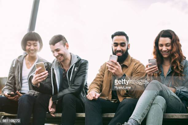 Millennial Friends on Smart Phones
