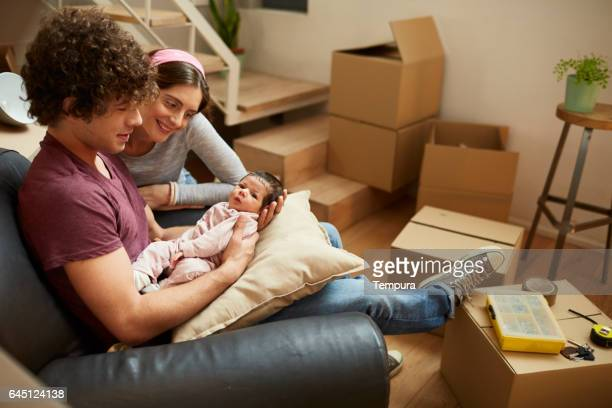 Millennial Parents moving to a new flat.