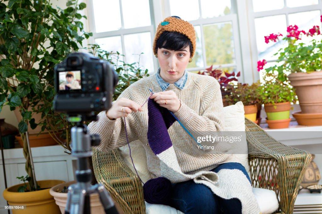 Millennial Vlogging Video Blogging Knitting Tutorial Demonstration in Home Kitchen : Stock Photo