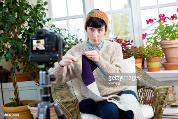 Millennial Vlogging Video Blogging Knitting Tutorial Demonstration in Home Kitchen