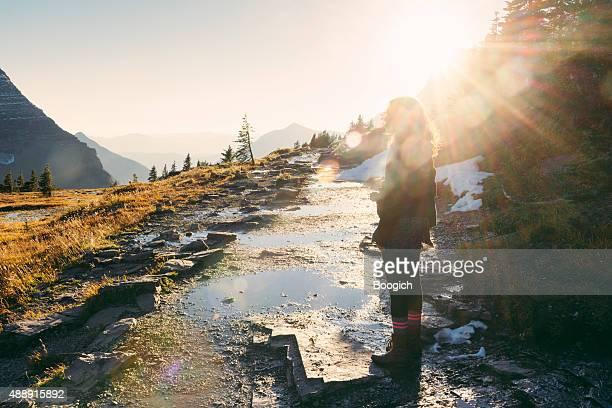 Millennial Woman on Scenic Hike in Montana Glacier National Park