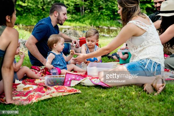 Millennials families having a picnic outdoors in summer.