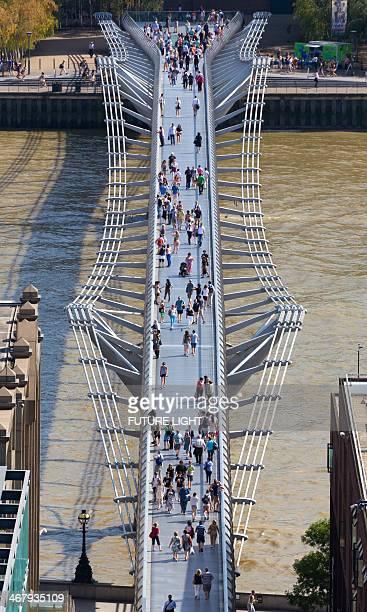 Millennium Bridge and River Thames aerial view