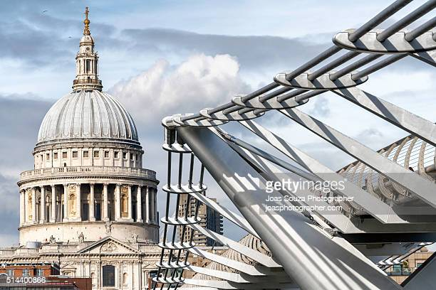 Millennium Bridge and St Pauls Cathedral Dome, London.