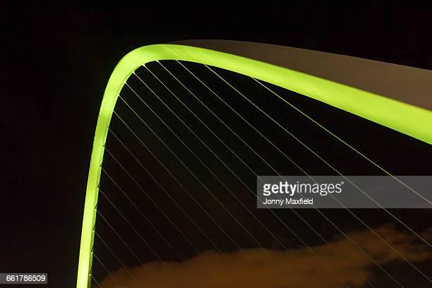 Millennium Bridge at night, Newcastle, UK