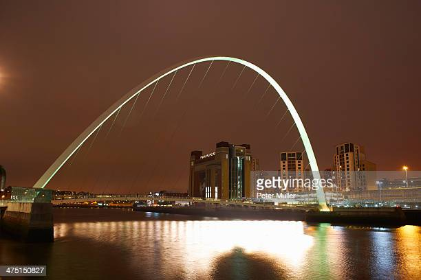 millennium bridge at night, newcastle upon tyne, united kingdom - newcastle united pictures stock pictures, royalty-free photos & images