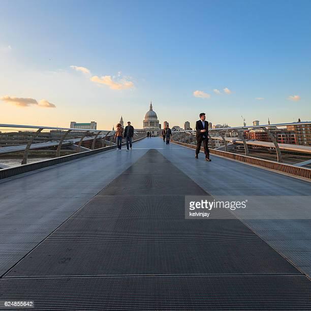 Millennium Bridge in London looking towards St Paul's Cathedral