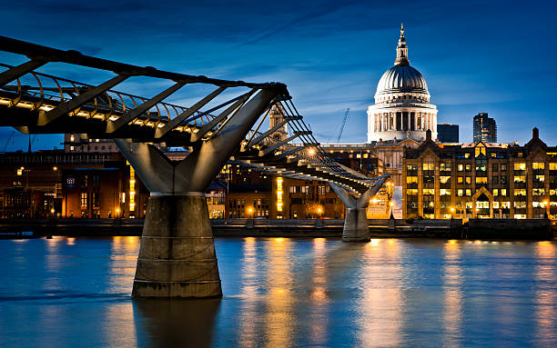Millennium Bridge lit up at night
