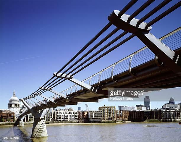 Millennium Bridge, London, c1998-2010; looking towards St Paul's from Tate Modern, Bankside. The London Millennium Footbridge, is a steel suspension...