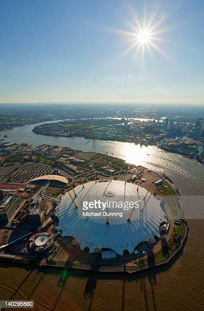 millennium dome, london, aerial view. - the o2 england stock pictures, royalty-free photos & images