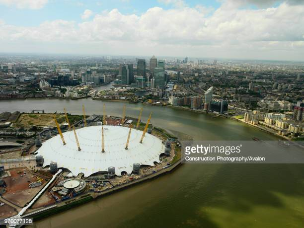 Millennium Dome on the Greenwich Peninsula and Canary Wharf London Docklands UK