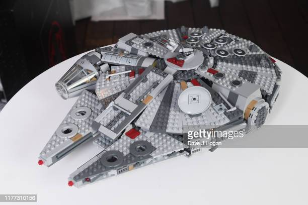 Millennium Falcon by LEGO on display at the global live-stream event at Pinewood Studios revealing new Star Wars merchandise, on September 26, 2019...